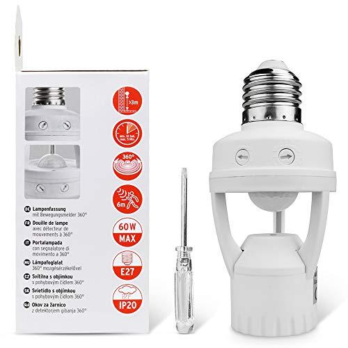Motion Sensor Light Socket,PIR Motion Detector Socket E26/E27 Bulb Socket Adapter,Adjustable Time&LUX(Screw Driver Included),Auto On/Off Night Light Adapter, Applied in Garage,Porch,Basement,Closet