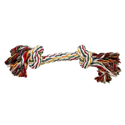 Tug-O-Rope Double Knotted Multicolor Bone Dog Toy ()
