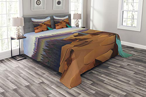 Ambesonne Southwestern Bedspread Set King Size, Cartoon Canyon Landscape with Distant Forest Tree Silhouettes National Park, 3 Piece Decorative Quilted Coverlet with 2 Pillow Shams, ()