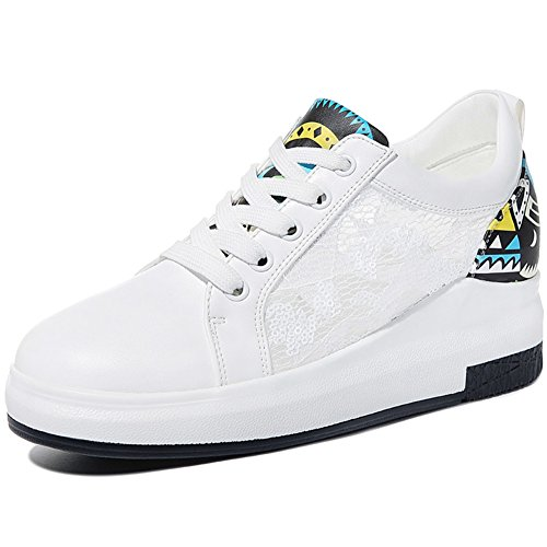 U-mac Mujeres Increased Inside Sneakers Anti-slip Pore Space Fringe Elastic Band Chic Sneakers White