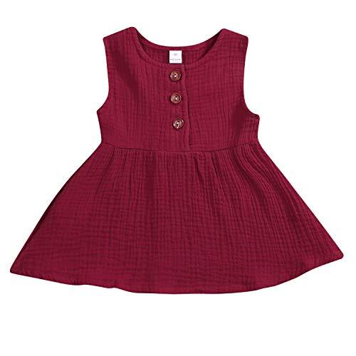 - GSHOOTS Baby Girls' Sleeveless Dress Toddler Girls Linen Dress Infant Girl Solid Dress Newborn Girl Button Dress (80/6-12 Months, Madeira Red)