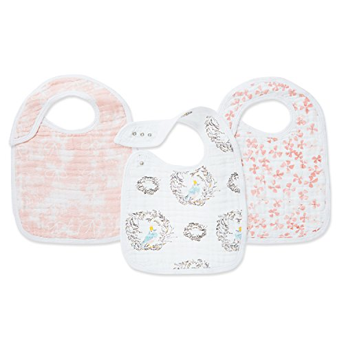 """Aden + Anais Classic Snap Bib, 100% Cotton Muslin, Soft Absorbent 3 Layers, Adjustable, 9"""" X 12"""", 3 Pack, Trail Blooms"""