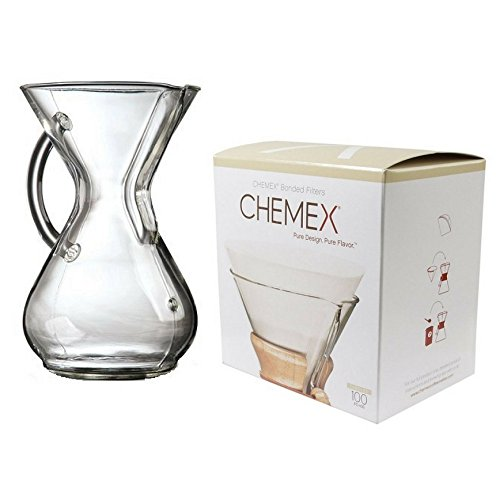 Chemex Bundle - 2 Items: Glass Handle Coffeemaker and FC-100 Pre-folded Circle Filters (8-cup)