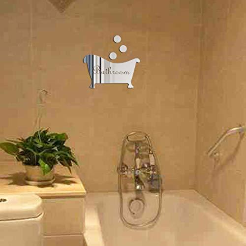 (EDTO 3D Mirror Sticker Funny Door Entrance Sign Kids Men Women Bathroom DIY Wall Decal Bar Home Decoration)