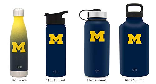Simple Modern 32oz Summit Water Bottle - Michigan Wolverines Vacuum Insulated 18/8 Stainless Steel Travel Mug - (University Logo Water Bottle)