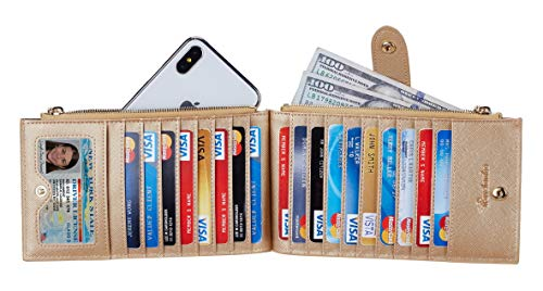 Travelambo Womens Walllet RFID Blocking Bifold Multi Card Case Wallet with Zipper Pocket 3