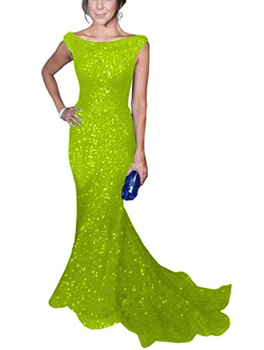 SOLOVEDRESS Women's Mermaid Sequined Formal Evening Dress for Wedding Prom Gown (US 2,Lime Green)