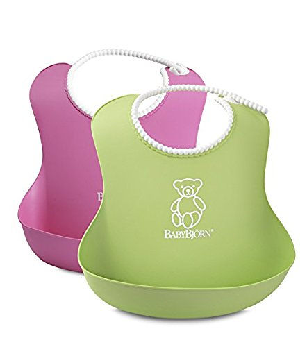 BABYBJORN Soft Bib - Pink/Green (2 pack)