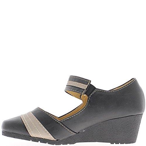 Zeppa nera donne scarpe piccolo tacco 5cm flangia