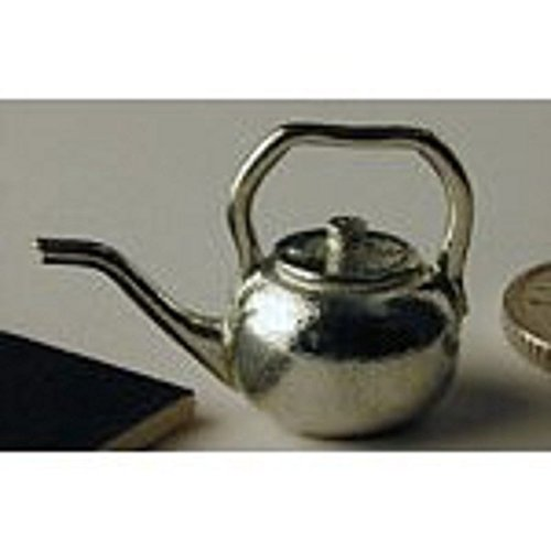 (Dollhouse Miniature Polished Pewter Small Kettle)