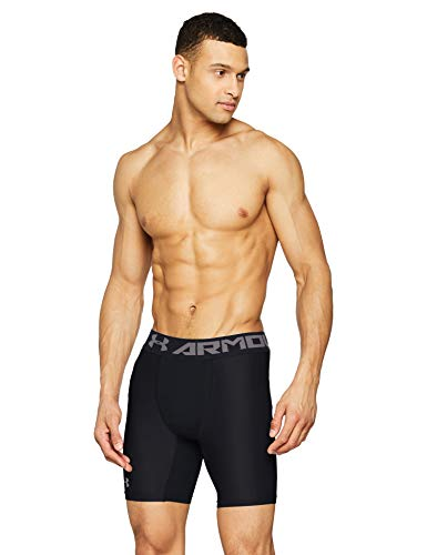 (Under Armour mens HeatGear Armour 2.0 6-inch Compression Shorts, Black (001)/Graphite, X-Large)