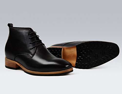 Para Botas Piel Negocios Tacón Negro Hombre uk7 Alto Hombres Marrón Clásicos 5 Zapatos Informales Eu42 Cuero Tamaño color Invisibles De q7xg4Ft
