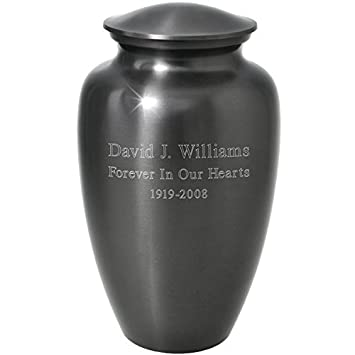 Memorial Gallery Custom Engravable Simple Grey Cremation Urn 10 , Engraved