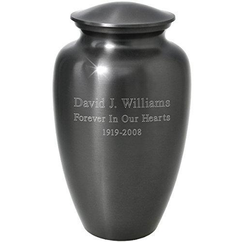 Engravable Urns - Memorial Gallery Custom Engravable Simple Grey Cremation Urn (10
