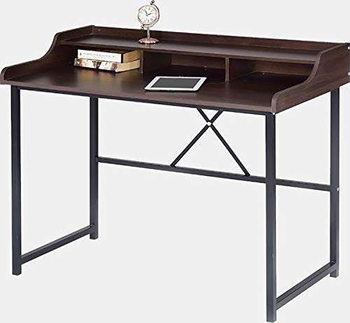 Wood Desk with Metal Base - Rectangular Writing Desk with Shelves - Cappuccino Brown