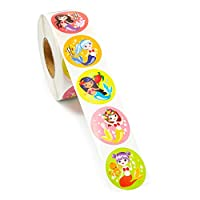Blue Panda Kids Stickers (1 Roll) 1000 Count, 1.5 Inch, Mermaid