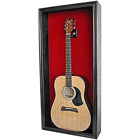 Acoustic Guitar Display Case Wall Cabinet Uv Protect Door With Lock Gtar