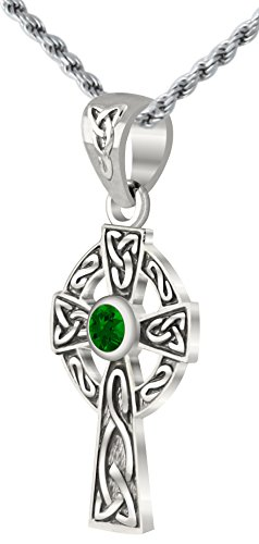 US Jewels And Gems Small 0.925 Sterling Silver Simulated Emerald Irish Celtic Knot Cross Pendant 2.3mm Rope Necklace, 20