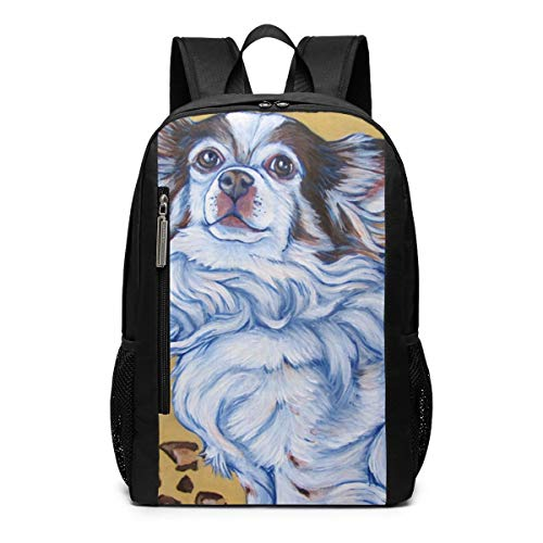 (White Long Hair Chihuahua Art Painting School Travel Casual Daypack Backpack for Business College Women Men Laptop Large Computer Bag Polyester)