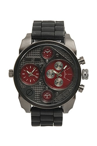 (Sporty Oversize Dual Time Watch with Black Rubber Band - BA405L Wine )