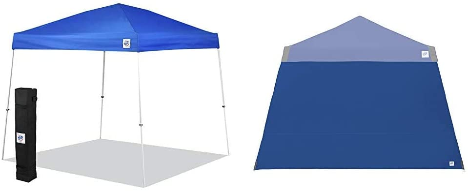 E-Z UP SR9104BL Sierra II 10 by 10-Feet Canopy, Blue, Royal Blue, 10' x 10' & Recreational Sidewall – Royal Blue - Fits Angle Leg 10' E-Z UP Instant Shelters