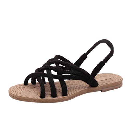 Eleganti Tessitura romani Sandali Sandali Pantofole Spiaggia di Scarpe Infradito Donna Nero Papillon Witsaye Open corda Ragazze canapa Donna a Toe Ciabatte da pxSEgY