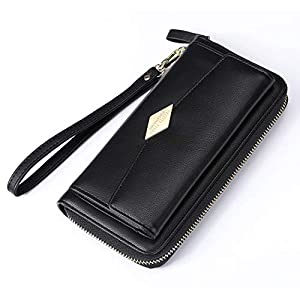 S-ZONE Soft Leather Wallet for Women Bifold Card Case Clutch Purse