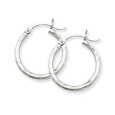 14k White Gold Diamond-Cut Hoop Earrings, (2mm Tube) from pf