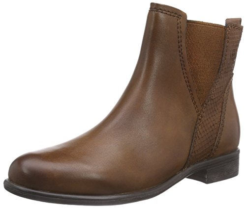 Marco Tozzi Premio 25046 - botines chelsea de cuero mujer marrón - Braun (Muscat Antic 340)