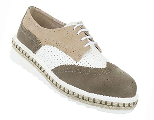 Damen Schuhe Halbschuhe Business Schnürer Grau Khaki