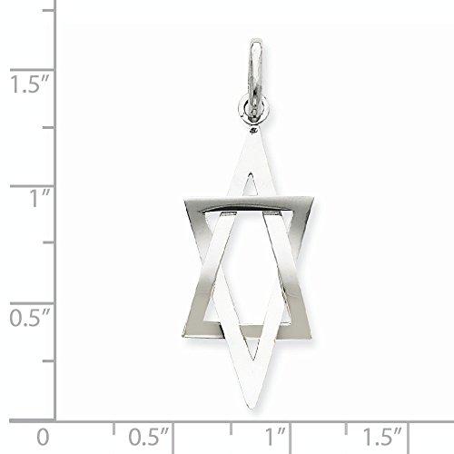 Or blanc 14 carats 3 d forme allongée Pendentif Etoile de David-JewelryWeb