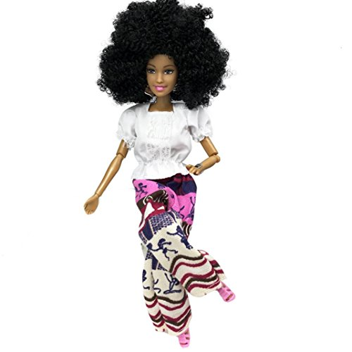 Fiaya Baby Movable Joint African Black Doll Toy Best Gift Toy (New Purple)