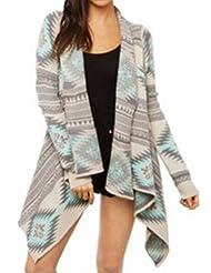 Shinekoo® Women Long Sleeve Geometric Irregular Cardigan Sweater Outwear Shawl