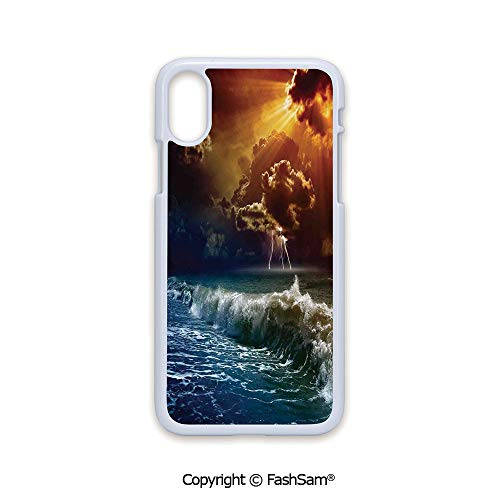 Phone Case Compatible with iPhone X Black Edge Thunderstorm Rays Over The Ocean Waves Wild Forces Burnt Fire in The Air Decorative 2D Print Hard Plastic Phone Case