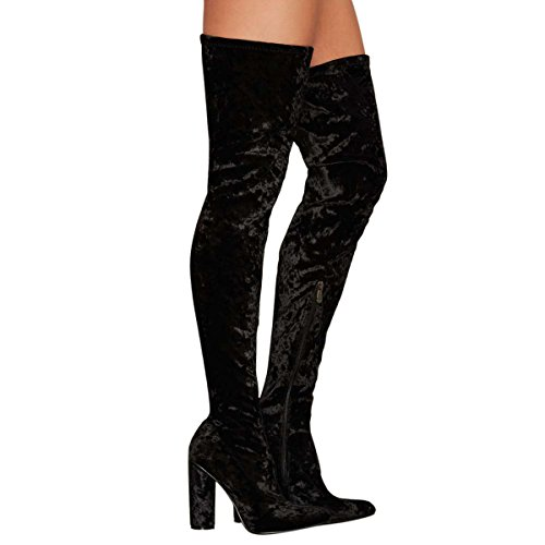UMEXI Fashion Comfy Vegan Suede Block Heel Slip On Thigh High Over The Knee Boots for Women Black TVfvqMTXi
