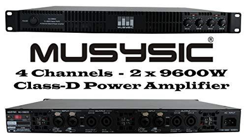 MUSYSIC MU-D9600 Professional 4-Channels 2x9600 Watts D-Class 1U Power Amplifier