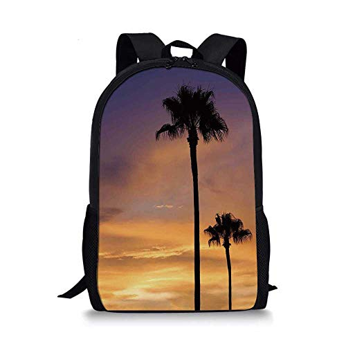 (Palm Tree Decor Stylish School Bag,PalmTrees Twilight in Tropical Environment Natural Beauty at Sunset Scene for Boys,11''L x 5''W x 17''H)