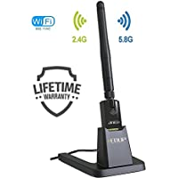 USB Wifi Adapter with USB Stand and External Antenna AC 802.11 Dual Band 5.8ghz/2.4ghz Realtek Chipset Works on PC Laptop and Mac  Long Range USB Wifi Booster To Speedup Online Gaming and Streaming