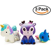 WATINC Kawaii 3 PCS Jumbo Squishy Toy,Starry Deer Unicorn Whale 3pcs Scented Slow Rising Squishies Charms Lovely Toy for Kids, Stress Relief Toy, Decorative Props Large(Starry Deer 3p)