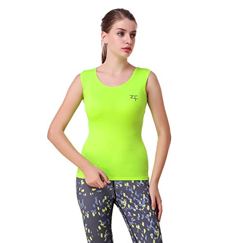 52202f3623ba7 ZeroFux ZF Hyper-Breathe Women's Gym Workout, Running & Yoga Polyster Plain  Solid Vest Compression Racerback Stretchable Quick Dry Fluorescen Green  Tank Top ...