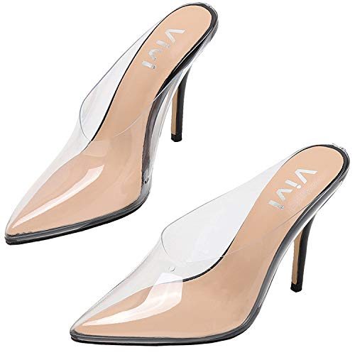 (vivianly Womens Fashion Sexy High Pointed Toe Heels Slip on Dress Sandals (9 B(M) US, Black)