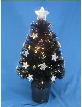 24 Zoll Schwarz Faseroptik Weihnachts Baum Mit Sterne