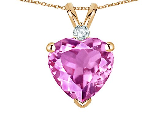 Star K 8mm Created Pink Sapphire Heart Pendant Necklace 10 kt Yellow Gold ()