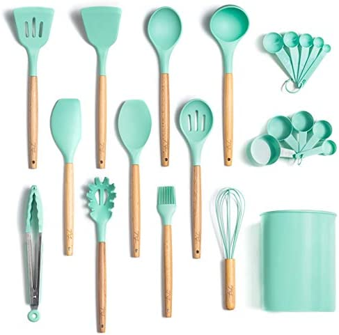 13 Piece Silicone Cooking Utensil Set with Holder (Teal/Turquoise with Beech Wood Handle) – Kitchen Cookware Tools and Utensils Sets with Spatula Tool and Spoons | Silicone with Wooden Handles