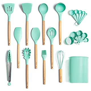 13 Piece BPA FREE Silicone Cooking Utensil Set with Holder (Teal/Turquoise/Blue, Beech Wood Handle) - Kitchen Cookware Tools and Utensils Sets with Spatula Tool, Spoons | Silicone w/Wooden Handles