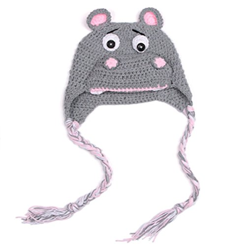 Laymily Handmade Knitting Newborn Baby Crochet Hippo Hat Suit Photography Hundred Days Baby Photo Modeling Clothes Handmade Hat Studio Props