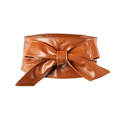 iShine Women's Fashionable Faux Patent Leather Flower Elastic Bowknot Wide Waist Belt Girls Lady Stretch Cinch (Brown Patent Faux Leather)