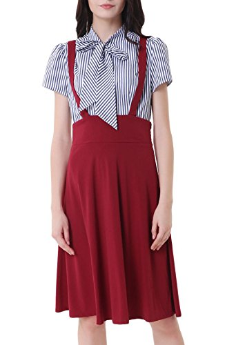 Belle Poque Women's Overall A-Line Suspender Pleated Braces Skirt Wine Size M ()