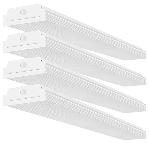 FaithSail 4FT LED Wraparound 40W Wrap Light, 4400lm, 4000K Neutral White, 4 Foot LED Shop Lights for Garage, 48 Inch LED Light Fixtures Ceiling Mount Office Light, Fluorescent Tube Replacement, 4 Pack ()
