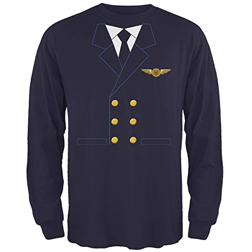 Halloween Airline Airplane Pilot Navy Adult Long Sleeve T-Shirt - X-Large]()